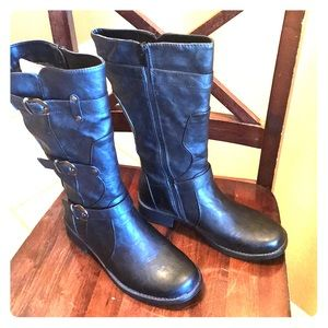 Ladies black Buckled motorcycle boots 🌸